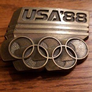 1988 Olympic Belt Buckle Brass